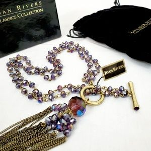 Joan Rivers Bead & Tassel Toggle Necklace NWT